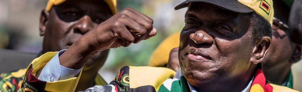 Emmerson Mnangagwa at a rally in Harare, Zimbabwe