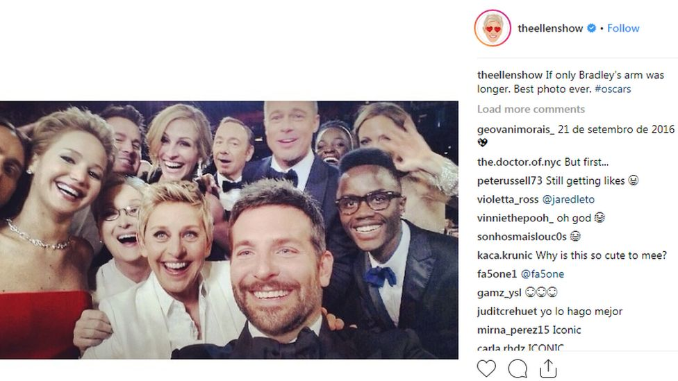 Image shows a post by TV host Ellen, showing celebrities at the Oscars