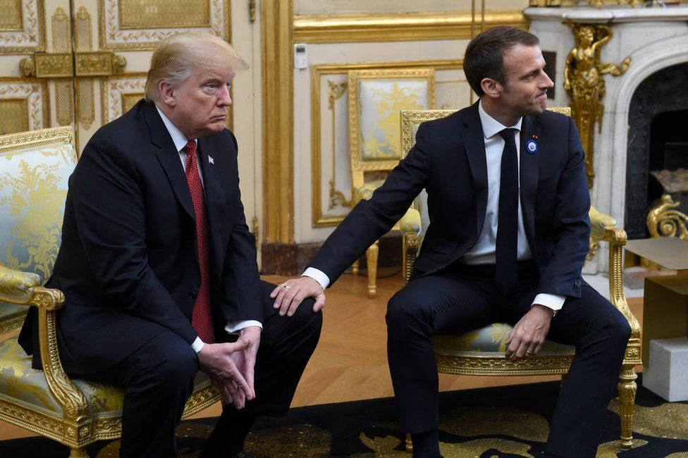 US President Trump and French president Macron sit side-by-side