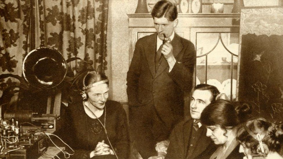 A family listens to the results of the 1923 election on the wireless