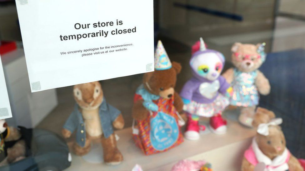 Toy shop with closed sign