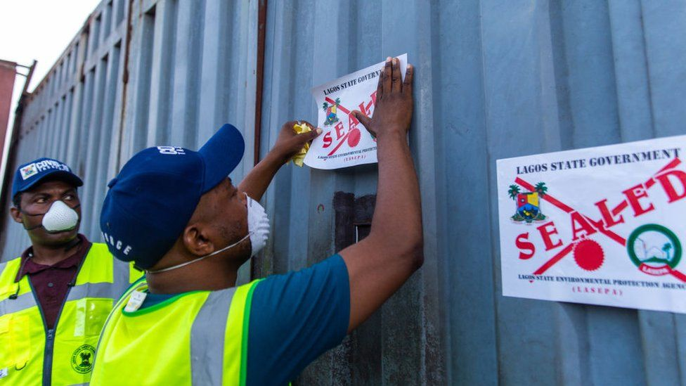Lagos State Environmental Protection Agency inspect Jumia warehouse March 31, 2020
