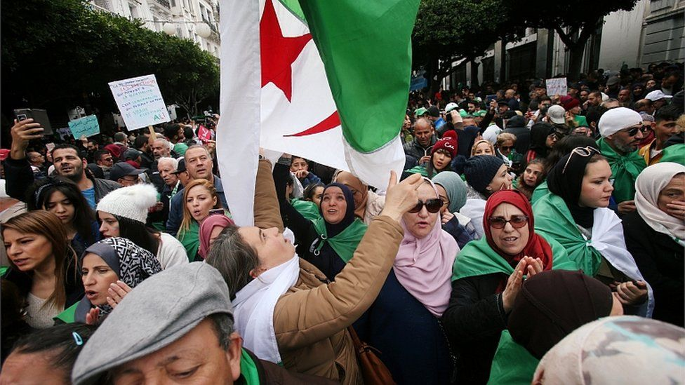 Anti-government protesters on the streets of Algiers. 13 Dec 2019