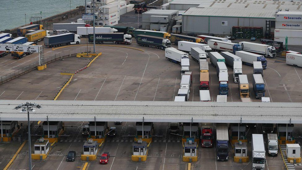Cargo lorries at Dover
