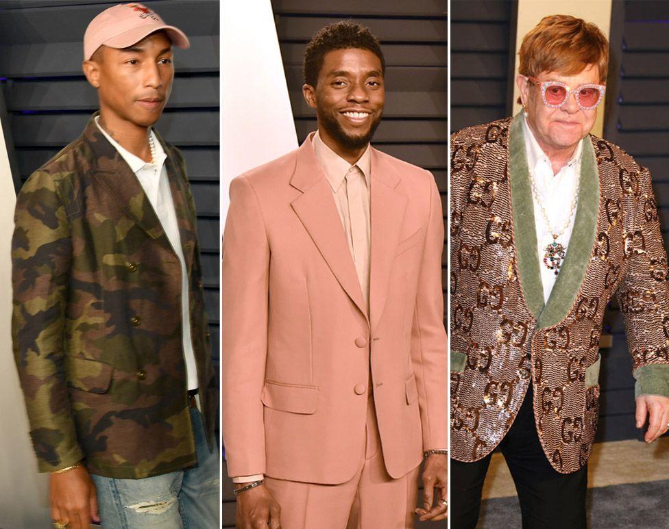 L to R: Pharrell Williams, Chadwick Boseman and Sir Elton John