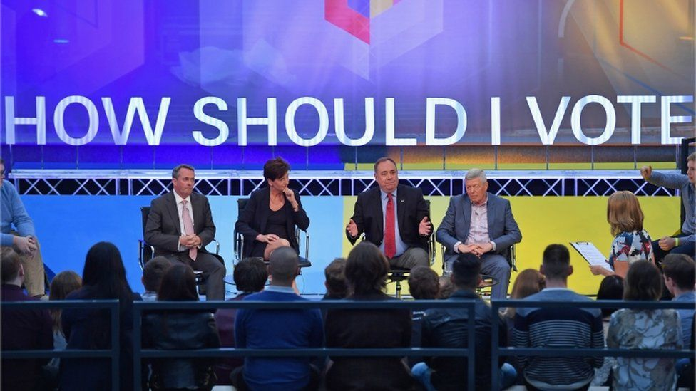 The panel: Liam Fox, Diane James, Alex Salmond and Alan Johnson