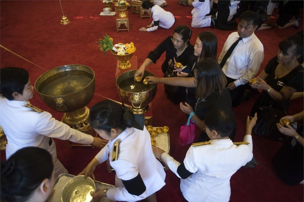 Thai people attend royal bathing ceremony at The Grand Palace on 14 October 2016 in Bangkok, Thailand