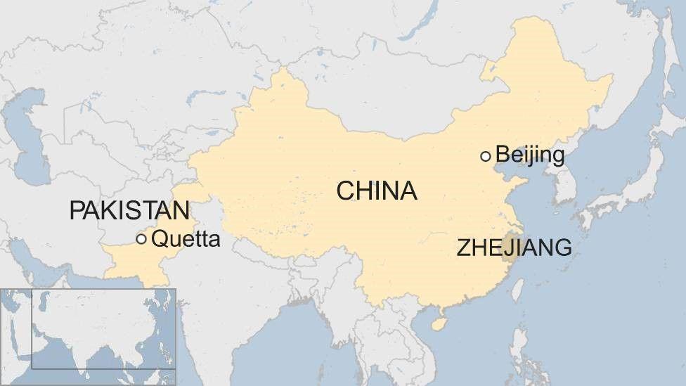 Map showing Quetta in Pakistan and Zhejiang in China