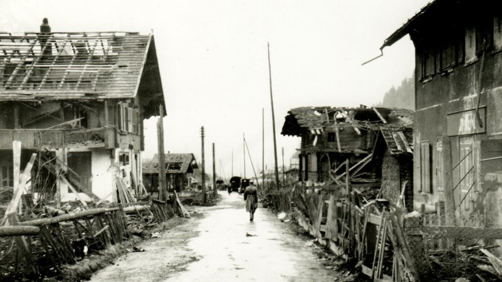 Archive photo showing the aftermath of the explosion