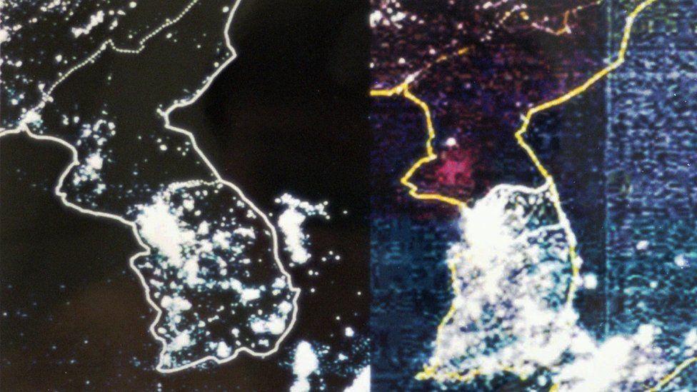 Two satellite photos show the Korean Peninsula at night
