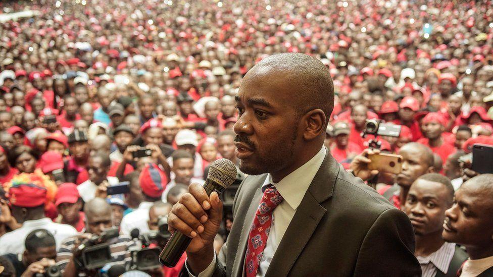 Nelson Chamisa addressing supporters in Zimbabwe