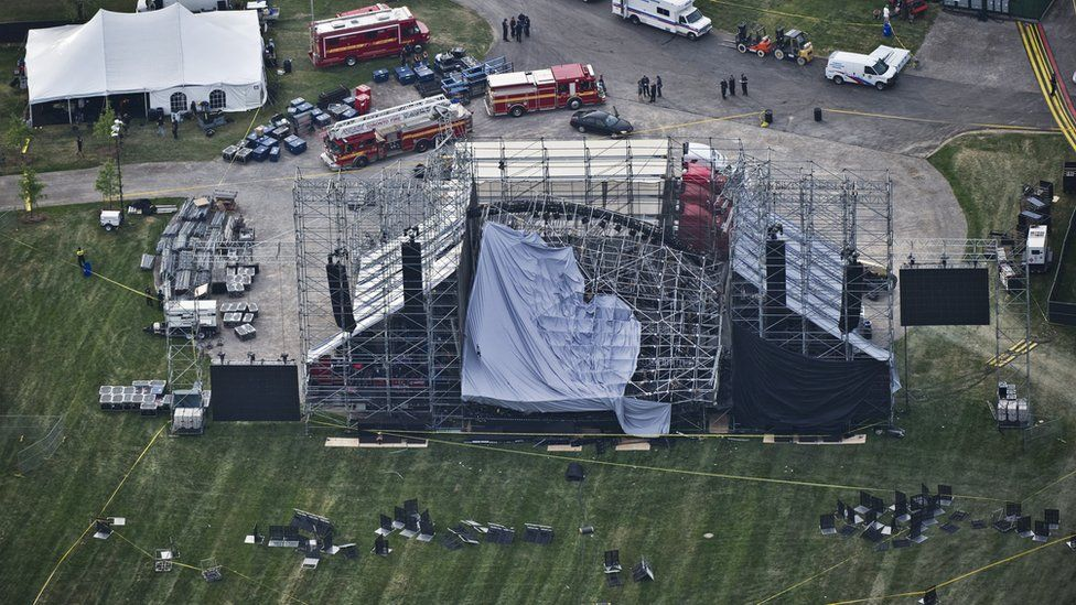 An aerial view shows the collapsed stage roof in Toronto's Downsview Park