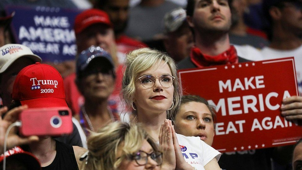 Supporters of Donald Trump at the BOK Center in Tulsa, Oklahoma,, June 20, 2020.