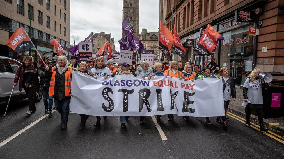 equal pay campaigners in Glasgow