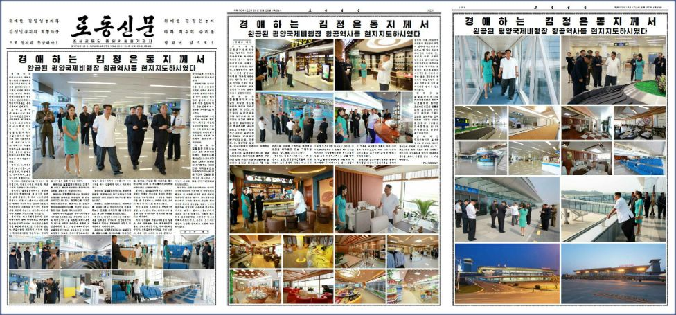 The three-page spread in North Korea's Rodong Sinmun newspaper dedicated to Kim Jong-un opening the new airport terminal in Pyongyang - 25 June 2015