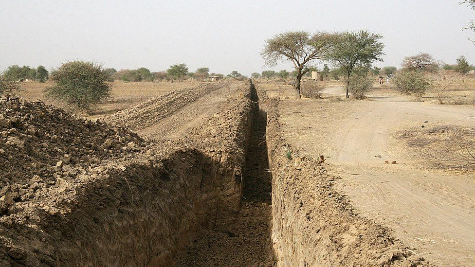 A picture taken on March 16, 2008 shows part of a 3-m deep trench dug by Chad's government around the capital N'Djamena to prevent attacks from rebels based in the east of the country
