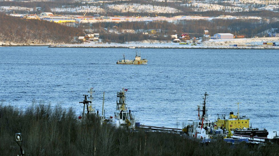 A view of the Kola Bay where the PD-50 floating dry dock of Shipyard 82 sank while the Russian aircraft carrier Admiral Kuznetsov was leaving it on the night of October 29 to 30, 2018