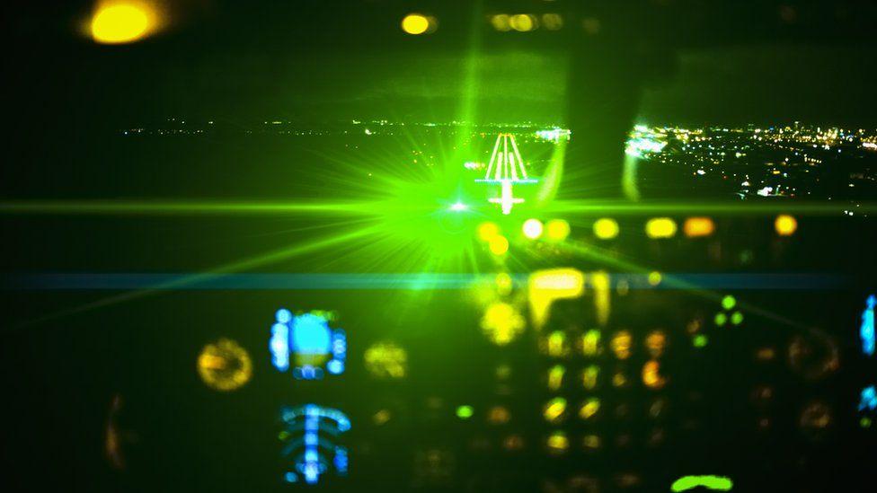 Impression of effect of laser light in cockpit of plane