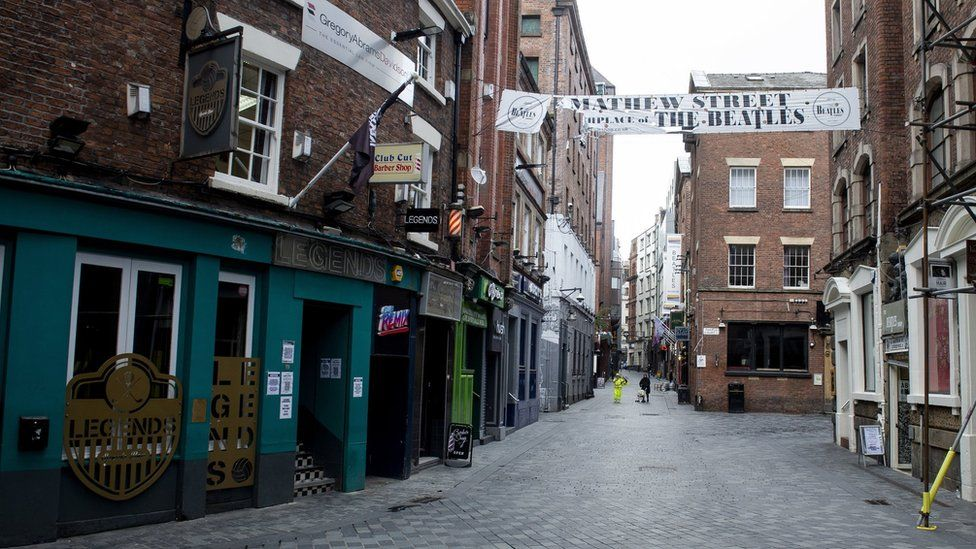 Empty Mathew Street in Liverpool under local lockdown
