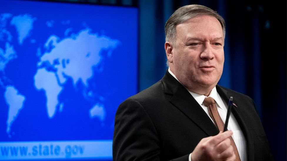US Secretary of State Mike Pompeo during a press conference at the state department in Washington DC, 8 April 2019