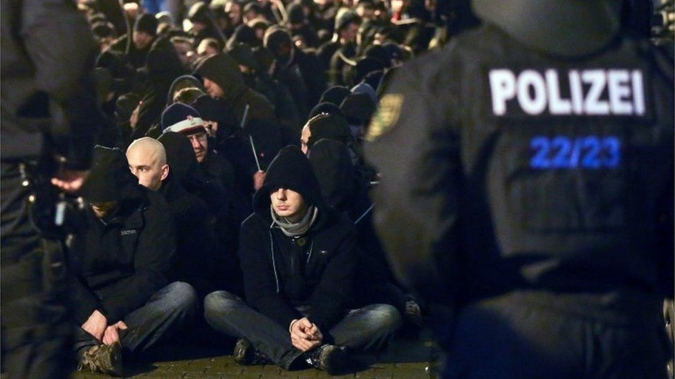 About 250 hooligans are encircled by the local police after riots following a demonstration of Leipzig's Europeans against the Islamisation of the West (LEGIDA), a group linked with the PEGIDA movement, in Leipzig, eastern Germany, Monday, 11 January 2016