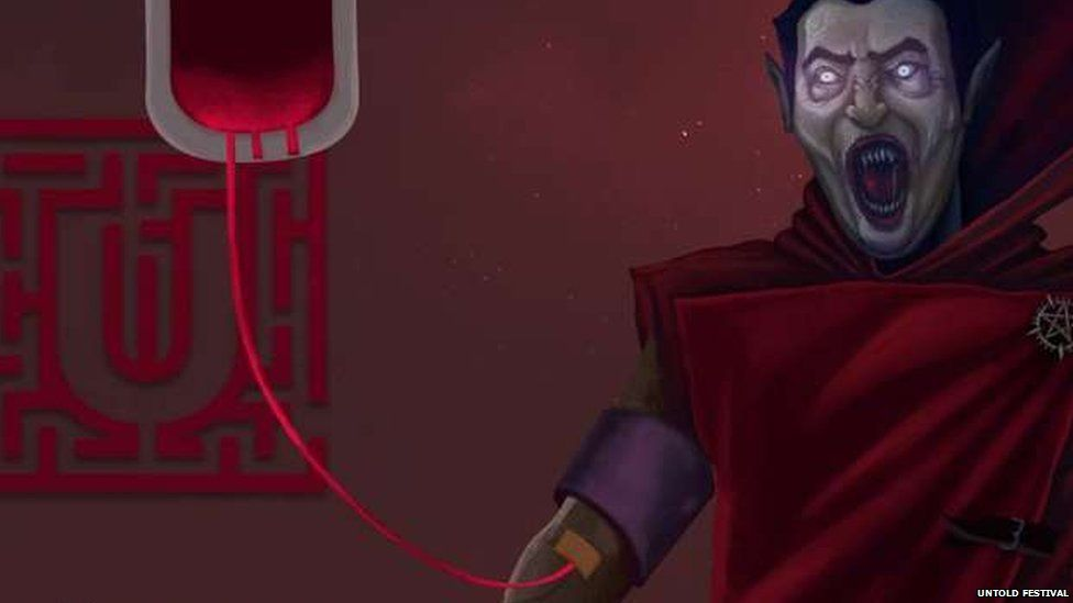 A cropped image of the poster showing a Dracula character receiving a blood transfusion