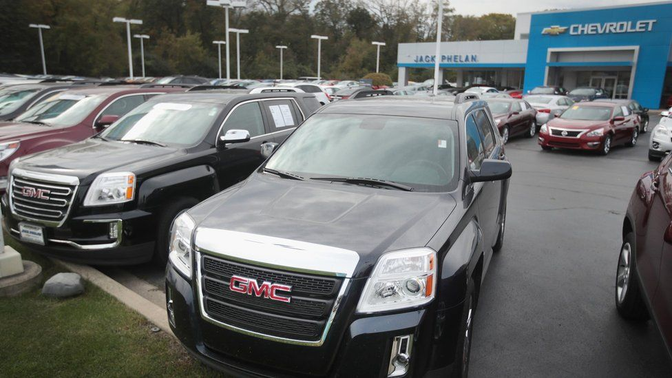 GMC SUVs are offered for sale at Jack Phelan Chevrolet on October 25, 2016 in Lyons, Illinois.