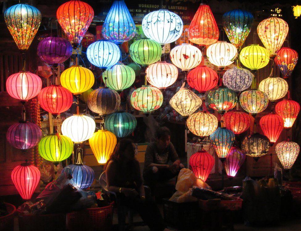 Lanterns in a market