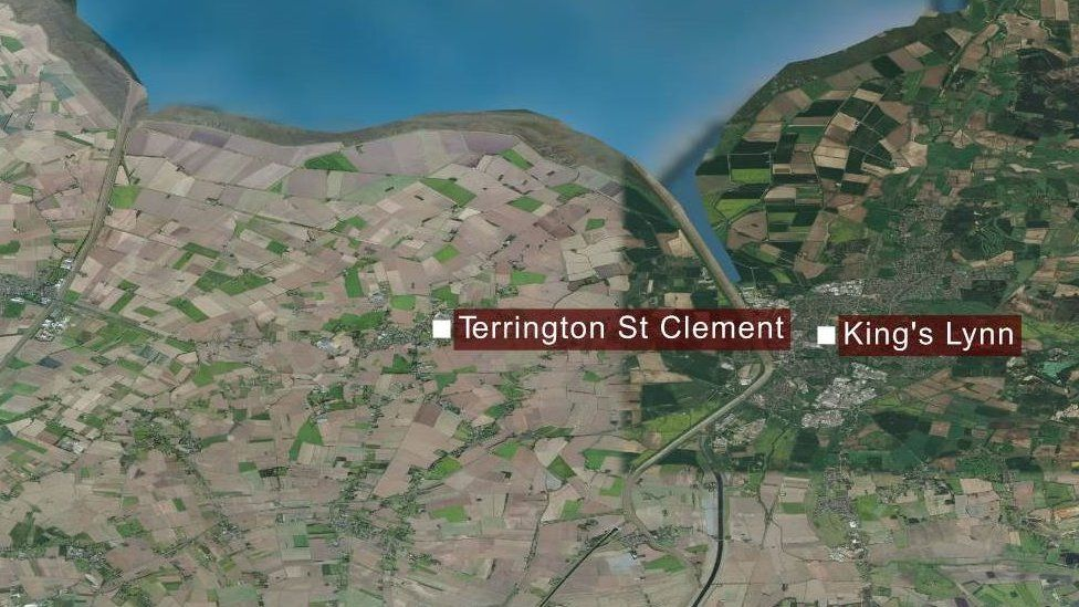 A map showing Terrington St Clement and King's Lynn