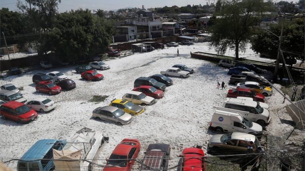 Aftermath of freak hailstorm in Mexico's Guadalajara, 1 July 2019