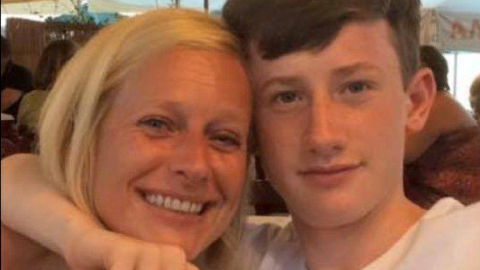 Morgan Ackerman with his mother