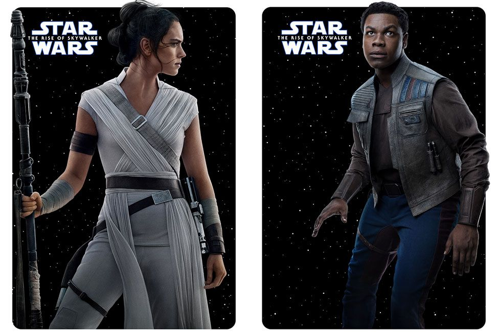Character posters for Rey (Daisy Ridley) and Finn (John Boyega)