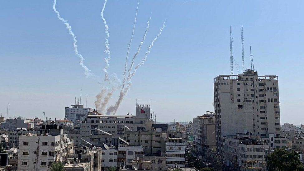 Trails of smoke above Gaza after a rocket launch on 14 November 2019