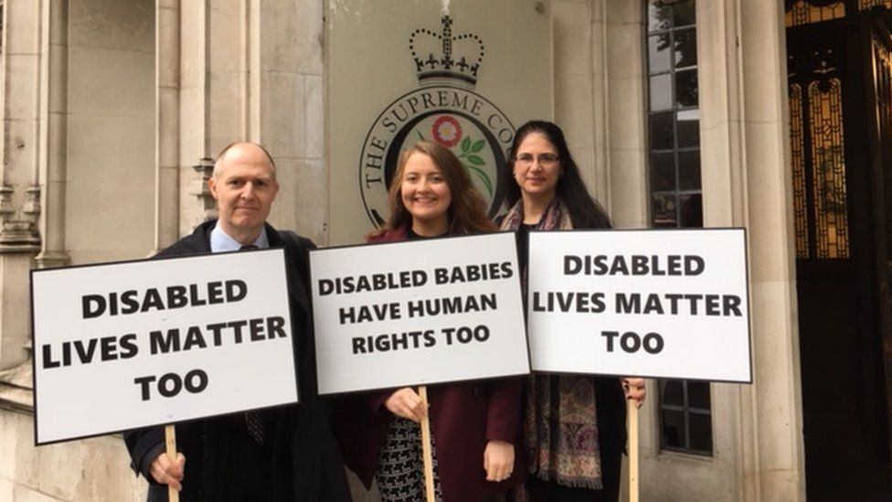 Anti-abortion campaigners are protesting outside the Supreme Court