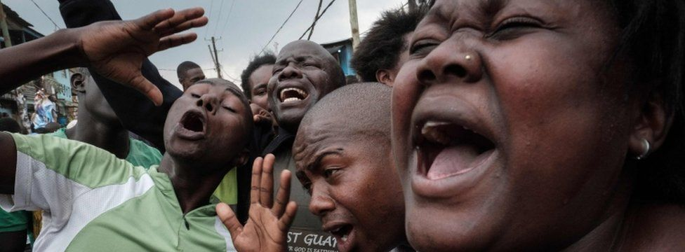 Opposition supporters celebrate in Nairobi