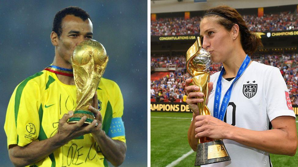 Brazil captain Cafu in 2002 and US captain Lloyd in 2015