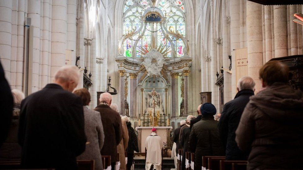 A service held in a French cathedral after a plaque unveiled in memory of victims of clerical abuse
