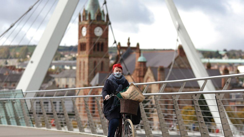 Person on bike on Peace Bridge in Derry