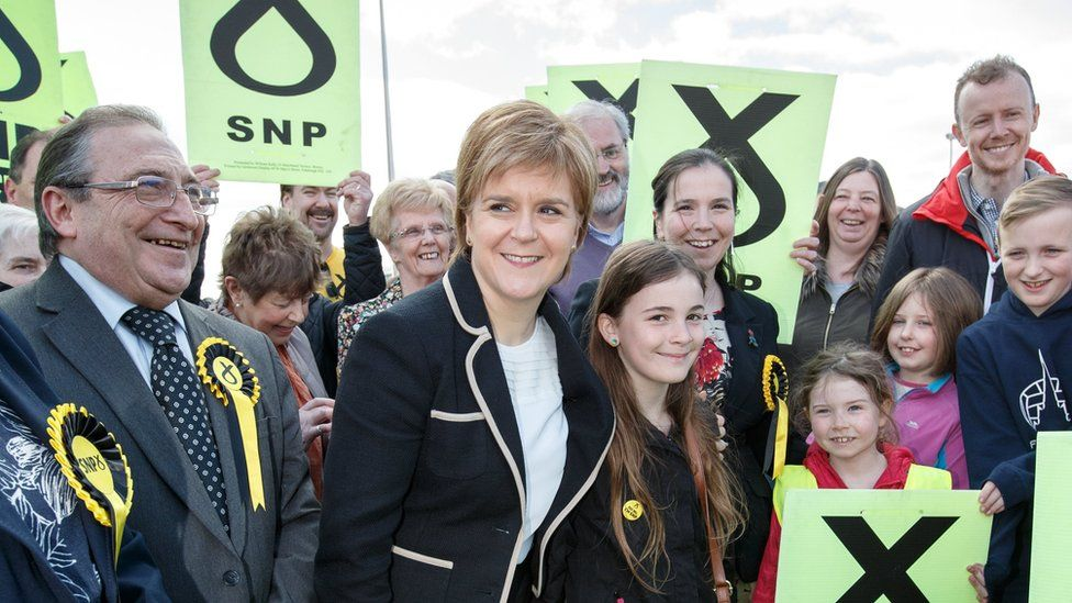 Nicola Sturgeon and SNP supporters