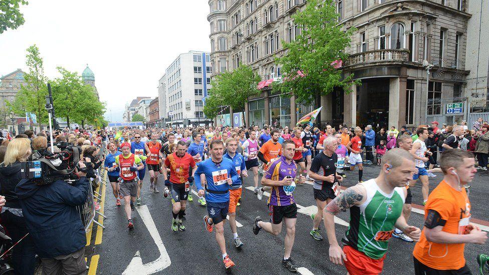 Runners in the Belfast City Marathon