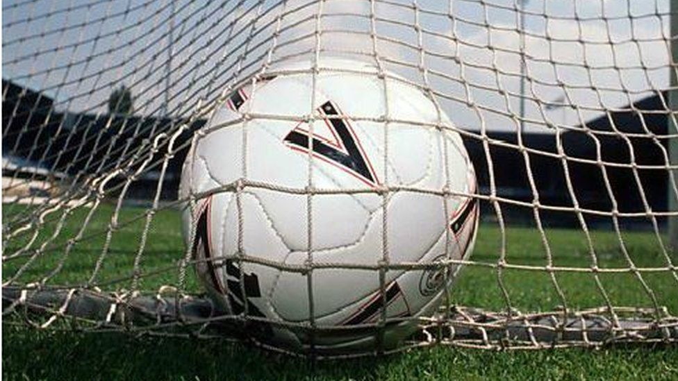 A football in net
