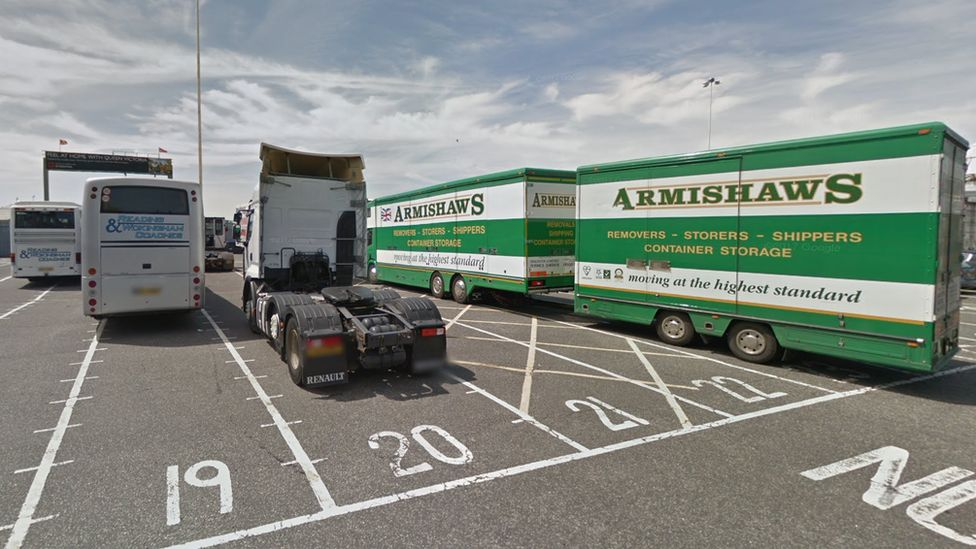 lorries and coaches at Southampton ferry port