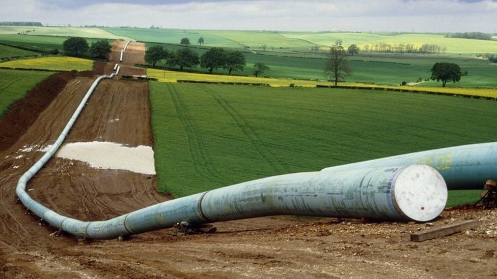 Gas pipeline running through Lincolnshire