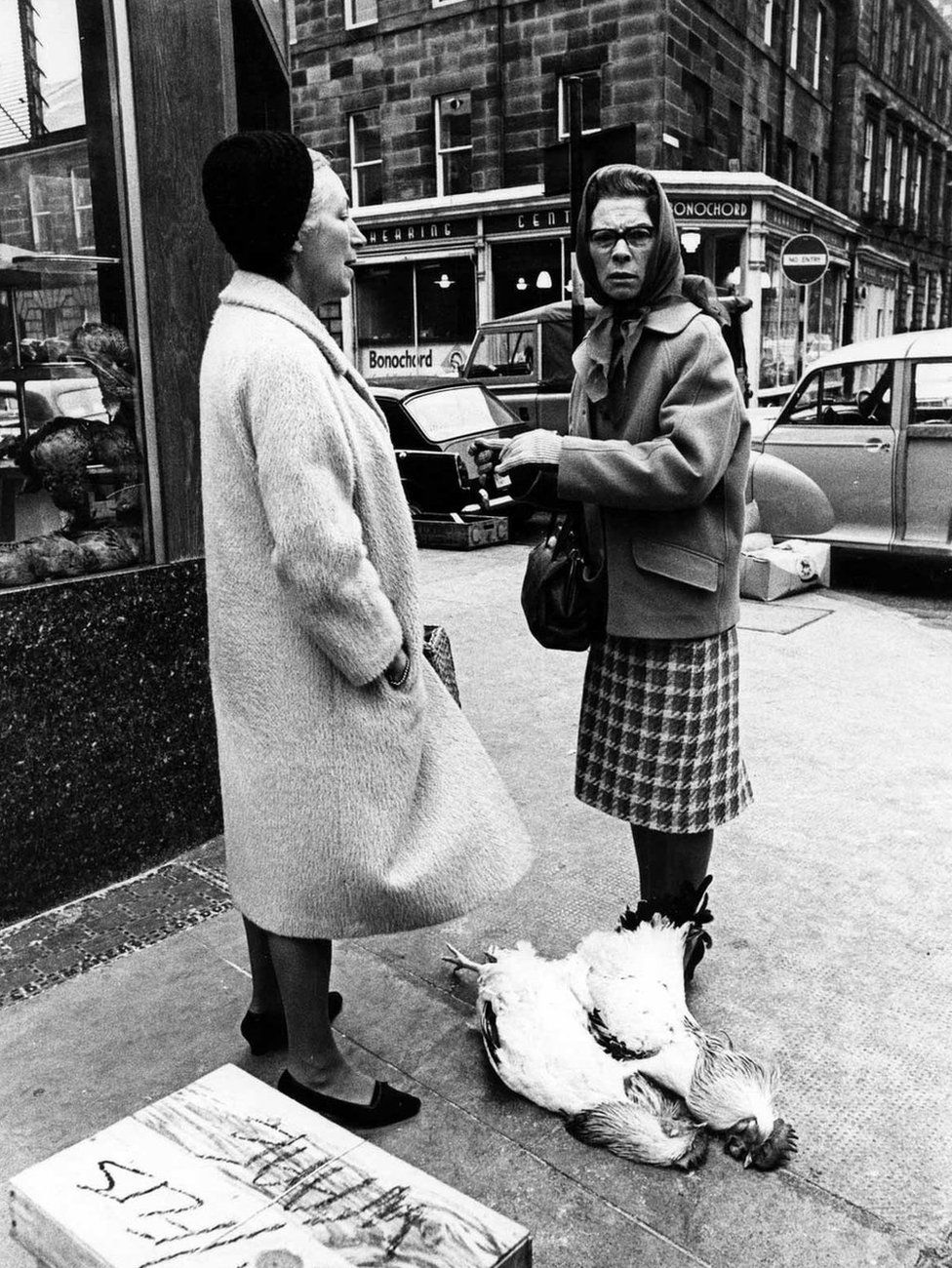 Two women with two chickens, 1966.