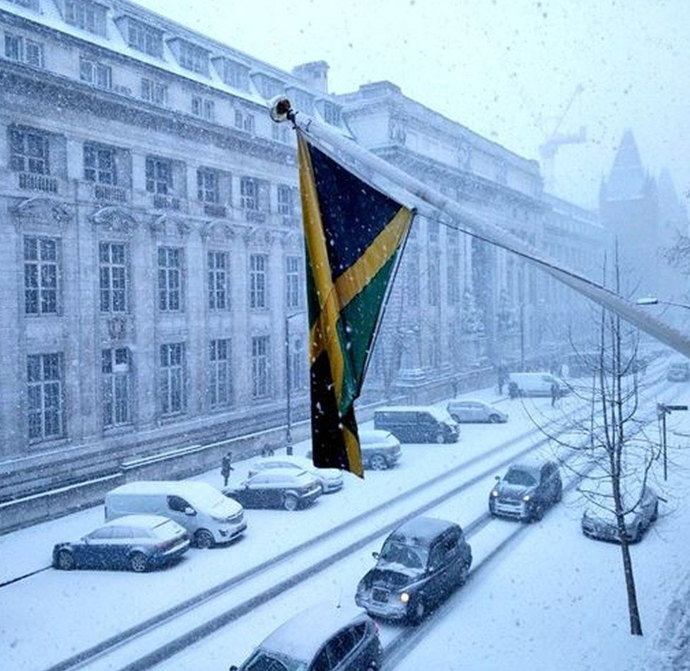 The streets outside the Jamaican High Commission covered in snow