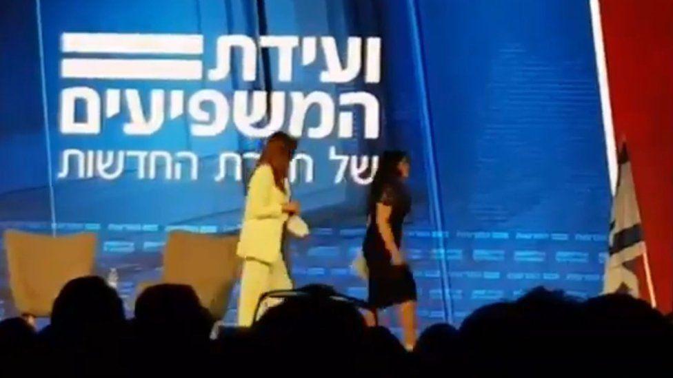 Monica Lewinsky walks out of an event in Jerusalem, Israel on 3 September 2018