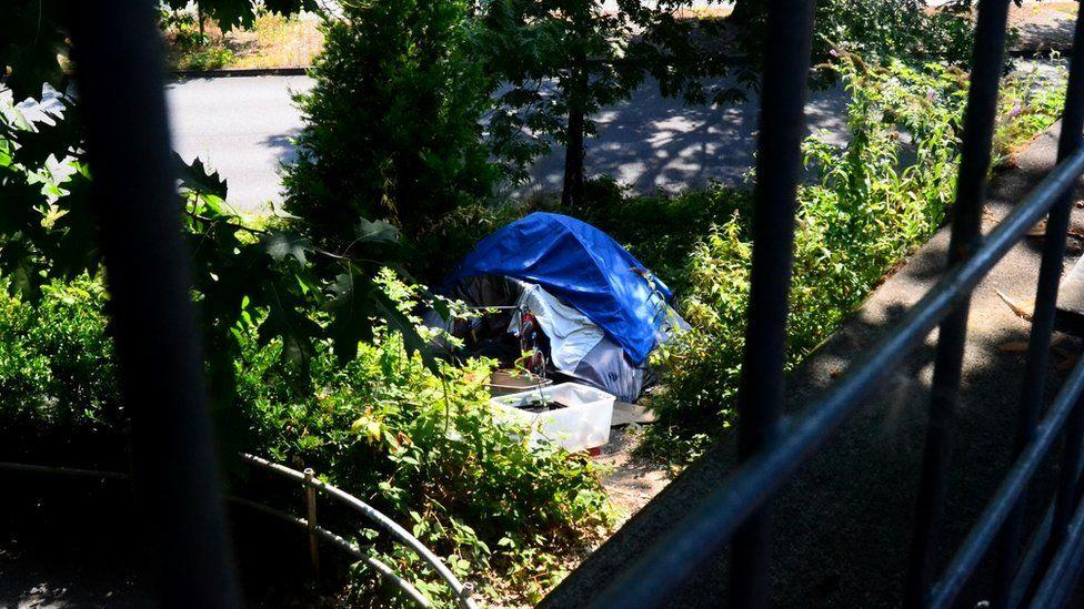 Tent under a bridge in Portland
