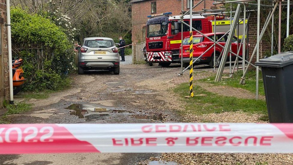 Fire engines near affected property