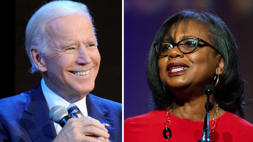 Collage photograph shows Joe Biden and Anita Hill