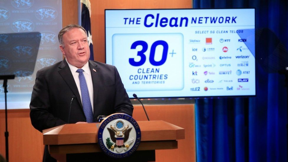 US Secretary of State Mike Pompeo speaks during a news conference at the State Department in Washington.